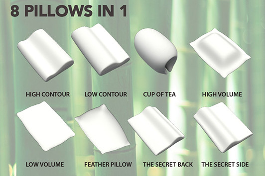 The 8 in 1 design of the Bamboo Pillow allows you to have the perfect sleep position to suit you