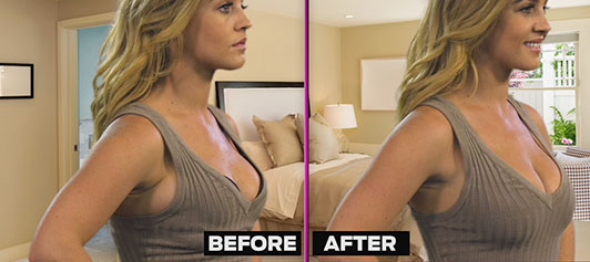 Get back the feminine look of a larger chest by going 2 bra sizes bigger