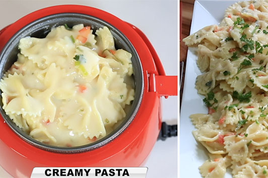 Cook creamy, delicious, tasty and juicy meals fast in the bright red coloured Kleva Cooker benchtop cooking system