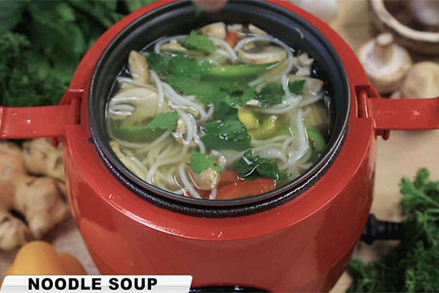 Cook Asian noodle soup fast with the one pot countertop, as seen on TV Kleva Cooker