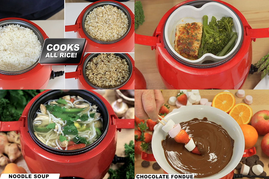 In your red Kleva Cooker, turn it into a rice cooker, a steamer for fish and vegetables, cook soup and delicious desserts