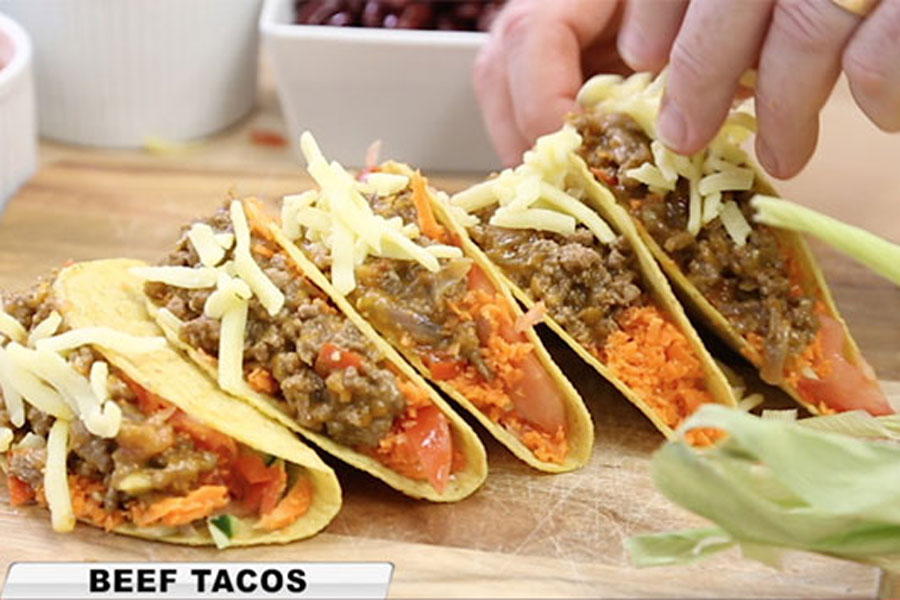 Cook tacos the easy, simple and quick way with no mess and no fuss, with the red Kleva Cooker