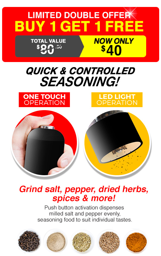 Electric Salt Paper Grinder Quick Controlled Seasoning