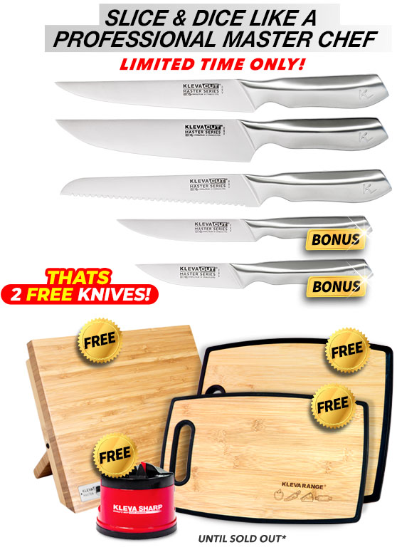 5 Piece, free bamboo knife block, free sharp original and free chopping boards