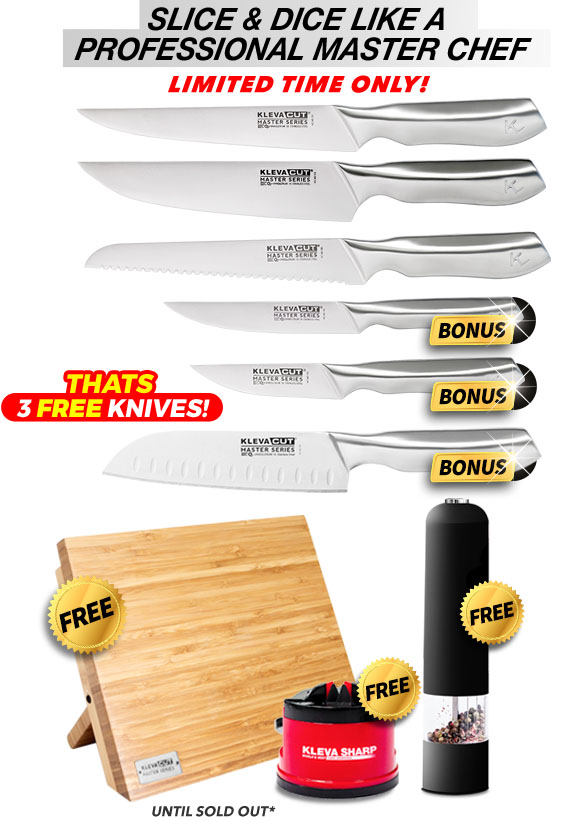 6 Piece, free bamboo knife block, free sharp original and free pepper grinder
