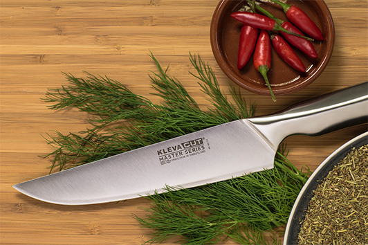 The Chef Knife is the super sharp knife from the Kleva Cut Master Series knife range