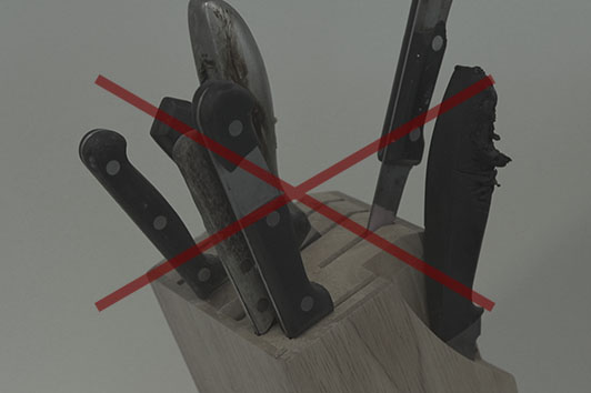 Old knives can be dangerous, and with broken handles and blades, they look terrible too
