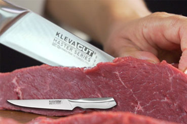 Slice meat like a butcher with the Kleva Cut Slicer Knife, effortlessly glide through your food