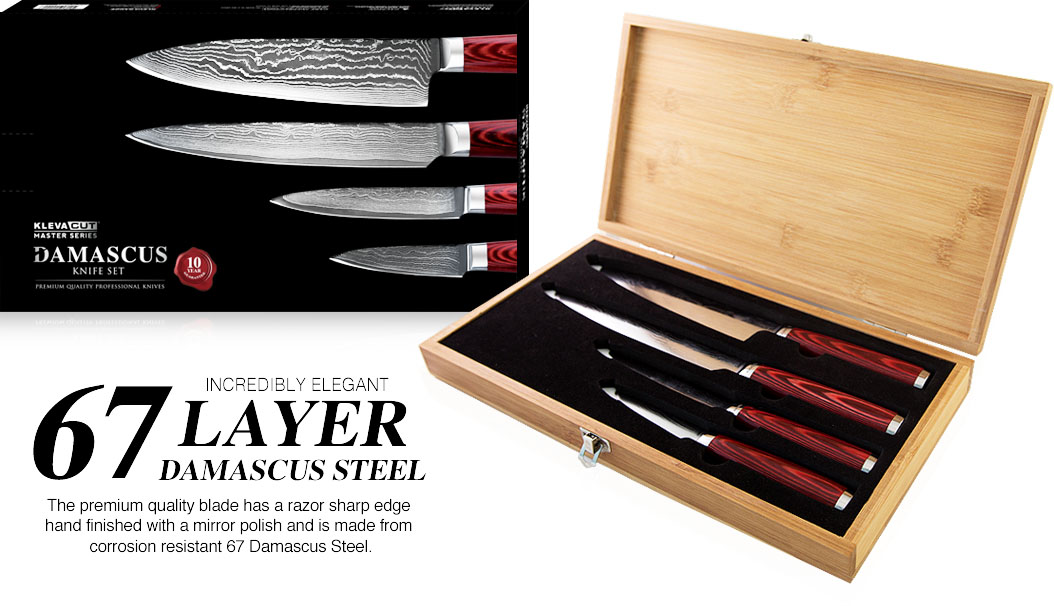 Kleva Cut Master Series - 6 Layer Damascus steel
