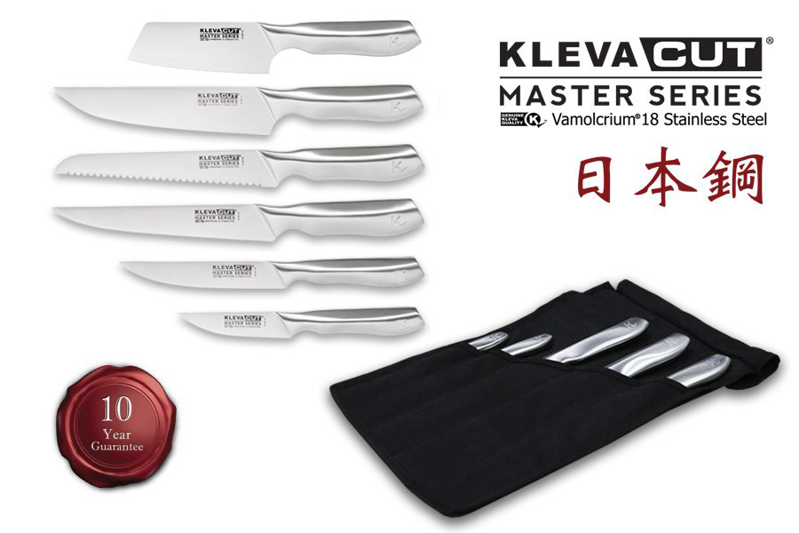 Get your Kleva Cut Master Series knife set today, made from Japanese steel