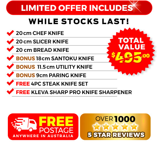 6 Piece, free bamboo knife block, free sharp pro and free knife satchel