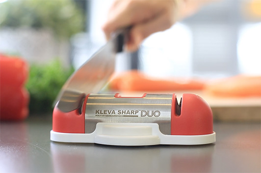 For perfectly sharp knives, get the easy to use and clean Kleva Sharp Duo