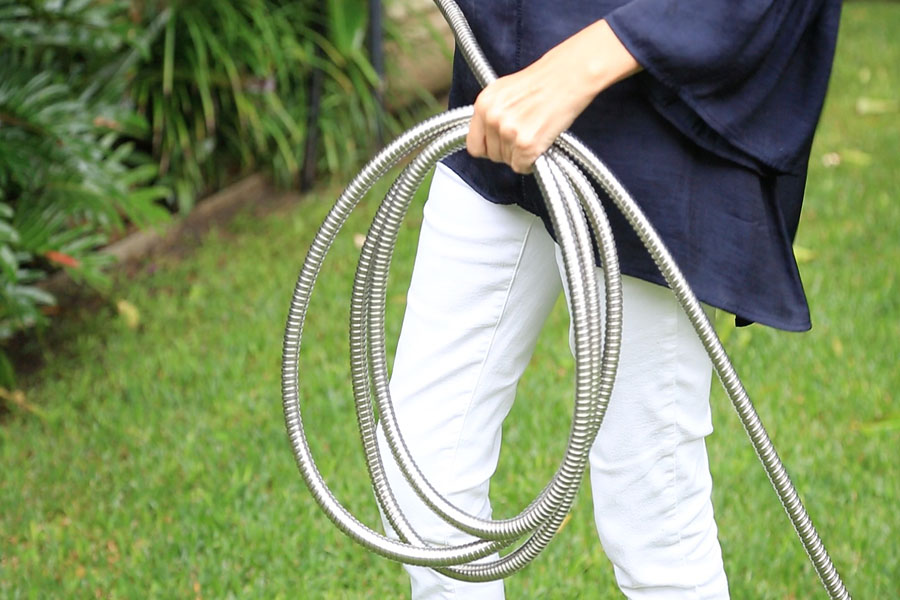 The Strainless Steel Garden Hose made from stainless steel is compact, lightweight, durable and far more flexible than other hoses.