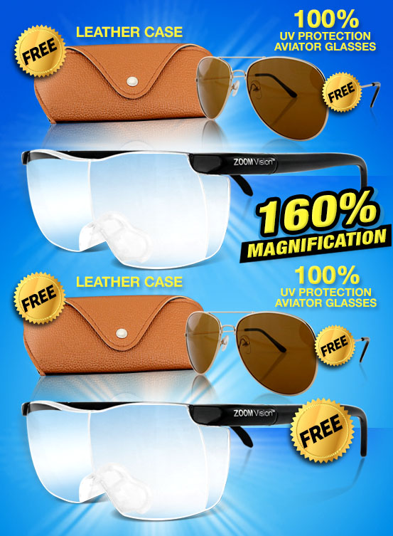 Zoom Vision Free Aviators and Free Glasses case